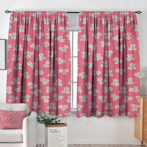 "Mozenou Country Home Window Curtain Drape Cute Little Daisies Bouquets Girls Bedroom Desgin Freshness Pink Backdrop Decorative Curtains for Living Room 72"" W x 84"" L Teal Pink White"