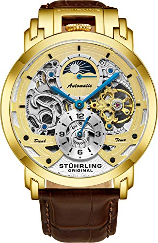 Stuhrling Orignal Mens Watches Automatic Watch Skeleton Watch for Men - Brown Leather Luxury Dress Watch - Mechanical Watches Stainless Steel Case Self Winding Analog Watches for Men Menai Watch (Best Luxury Watches 2019)
