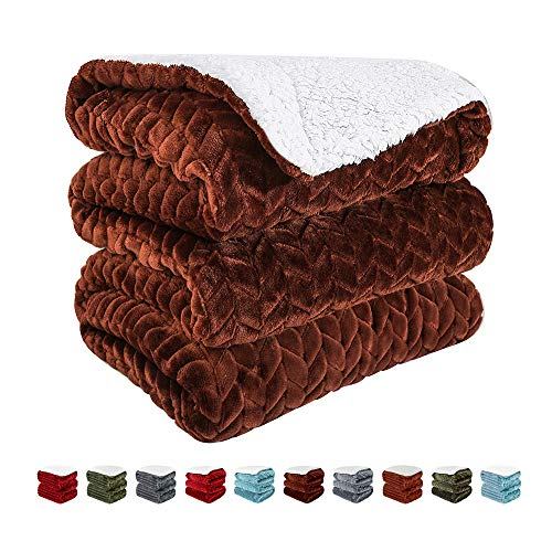 (SHEEPPING Sherpa Throw Blanket Twin Size - Luxurious Throw Blanket for Couch Chair and Bed - Super Soft Microfiber Throw Blanket with Special Wave - 60 x 80 inch -)