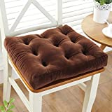 YXDDG Square Cotton Chair Cushion Seat Chair Cushion Suitable for Office, Study, Dining Room, Living Room, Student, 11 Colors-Brown 38x38cm(15x15inch)