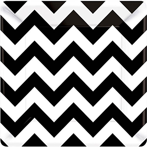 Party Perfect Disposable Chevron Print Square Dessert Plates Tableware, Black and White, Paper , 7