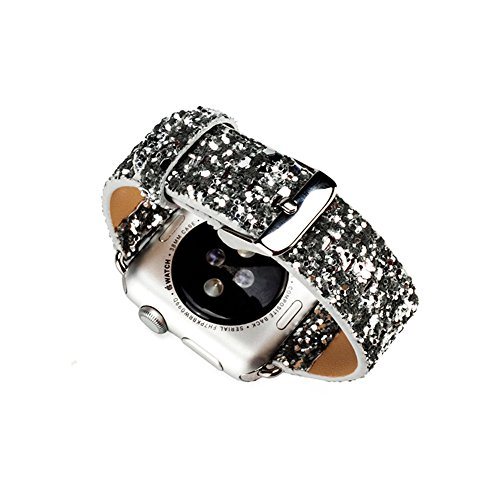 LiQi Smart Watch Band Extreme Deluxe 3D Bling Glitter Leather Bracelet Smart Watch Band Wristband Replacement for Iwatch Apple Watch 38mm Silver