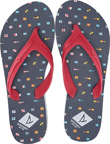 SPERRY Women's Wharf Thong Prints Sandal, Navy Nautical Flags, 9 ()