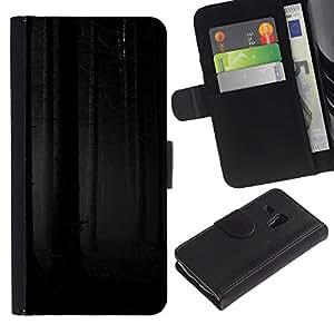 Billetera de Cuero Caso Titular de la tarjeta Carcasa Funda para Samsung Galaxy S3 MINI NOT REGULAR! I8190 I8190N / Forest Woods Grey Black Scary / STRONG