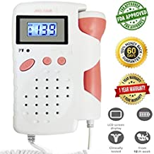 Baby Sound Amplifier with LCD for Home Use FDA Approved Heartbeat Sound Listening Tool (Red)