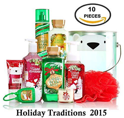 Bath and Body Works Holiday Traditions Bath Bucket - Vanilla Bean Noel, Winter Candy Apple, and Twisted Peppermint - 10 in 1! (Bucket Bath Set)
