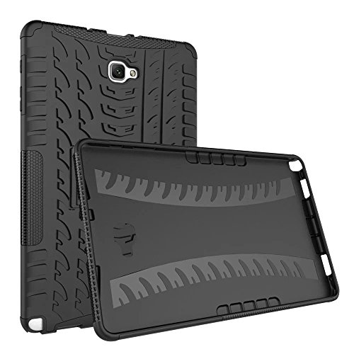 AOKER Galaxy Tab A 10.1 with S Pen (P585/P580) Case, [Kickstand Feature] Shockproof Heavy Duty Rugged Hybrid Kickstand Protective Case for Samsung Galaxy Tab A 10.1 with S Pen SM-P580 SM-P585 (Black) (Samsung Galaxy Tab S Case Rugged)