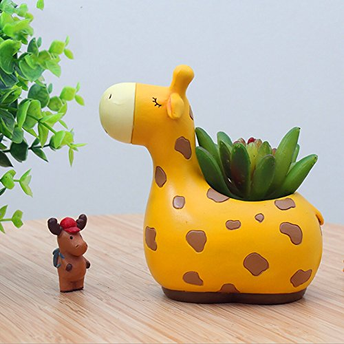 Messagee Cute Giraffe Succulent Pots with Drainage Resin