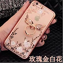 Galaxy Note 5 Case,Secret Garden Butterfly Floral Bling Swarovski Rhinestone Diamond Angel Wing Shape 360 Degree Rotating Ring Kickstand Holder Case for Samsung Galaxy Note 5(Rose Gold-White Flower)