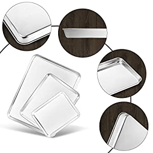 Baking Pans Bastwe Cookie Sheet Stainless Steel Baking Sheet Set of 3, Healthy & Non Toxic, Superior Mirror Finish & Easy Clean, Rust Free & Less Stick, Dishwasher Safe