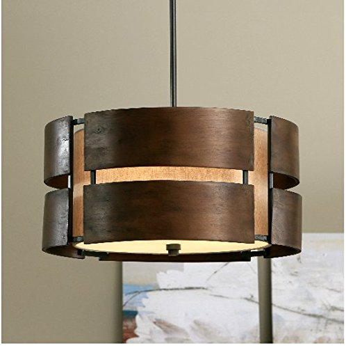 Schoolhouse Curved Wood 3-light Medium Walnut Pendant by School House