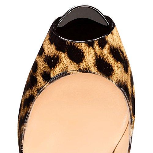 Slip Leopardo Multicolore Spillo A Tacco Sexy Donne su Pompe Umexi Plateau Alto E Nero BEBqxIP