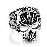 SAINTHERO Men¡s Vintage Gothic Stainless Steel Devil Skull Christian Cross Ring Silver Black Punk Jewelry Size 9