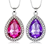 2Pcs/Set Amulet Teardrop Amethyst Necklace Gift for Girls Baby Pandent Necklace Birthday Gifts