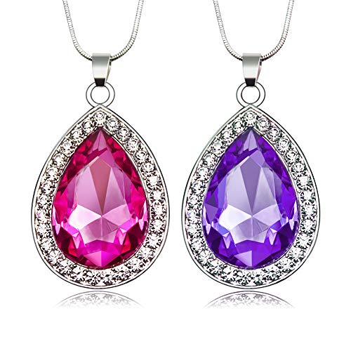 2Pcs/Set Amulet Teardrop Amethyst Necklace Gift for Girls Baby Pandent Necklace Birthday Gifts]()