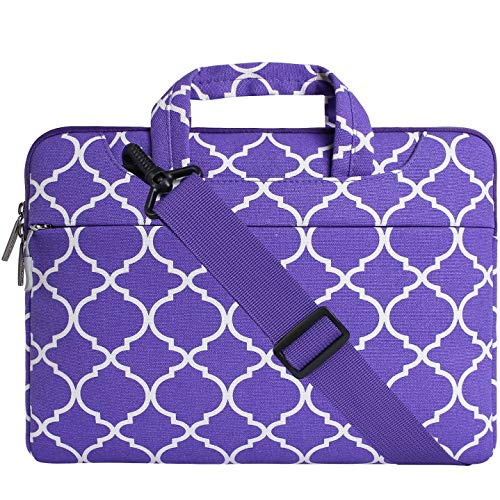MOSISO Laptop Shoulder Bag Compatible with 15-15.6 inch MacBook Pro, Ultrabook Netbook Tablet, Canvas Geometric Pattern Protective Briefcase Carrying Handbag Sleeve Case Cover, Ultra Violet Quatrefoil (Lenovo Ideapad Tablet Cover)