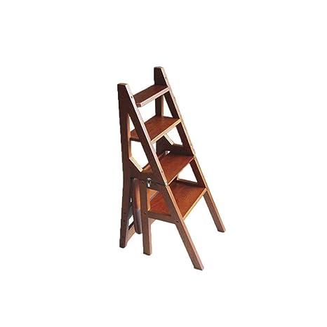 RMJAI Escalera multifunción de madera maciza Silla para el ...