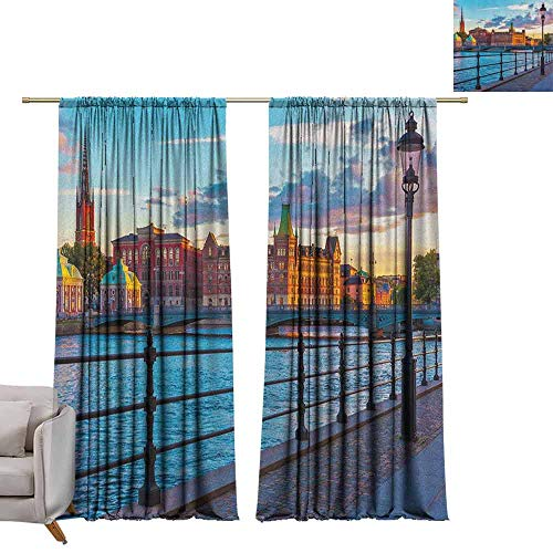 - Print Decorative Window Drapes Cityscape,Scandinavian Stockholm Old Town Sweden by Lake Gamla Stan View Autumn Day Scenery, Multicolor W96 x L108 Light Blocking Curtains