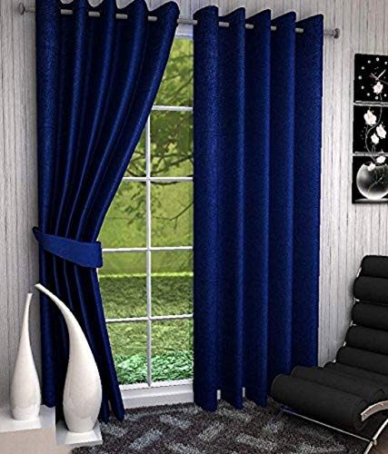 La Roze Home Furnishings Solid 2 Pc Eleyet Plain Curtains for Long Door 9 Feet, Pack of 2 (Royal Blue)