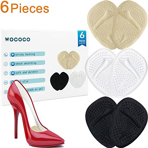 Premium Metatarsal Pads Ball of Foot Cushions Inserts for High Heels, 3 Pairs Reusable Comfort Forefoot Pads for Women Shoe to Rapid Pain Relief (Beige, Clear, Black)