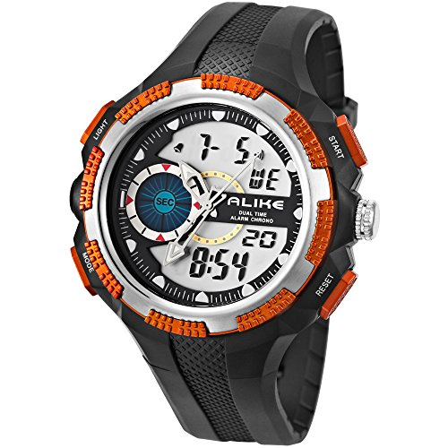 Alike fashionable hiking sports electronic quartz watch multifunctional dual display rubber waterproof male watch ak1387 (orange)