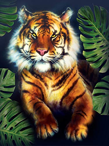 (New 5D Diamond Painting Kits for Adults Kids, Awesocrafts Tiger Green Leaves Partial Drill DIY Diamond Art Embroidery Paint by Numbers with Diamonds (Tiger))