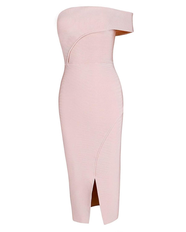 dc915ac8d695 UONBOX Women's Rayon Off the Shoulder Front Split Midi Bodycon Bandage  Party Dress 80%OFF