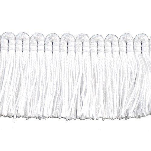Cut Brush Fringe (DecoPro 5 Yard Value Pack of White, 1 1/4