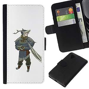KLONGSHOP // Tirón de la caja Cartera de cuero con ranuras para tarjetas - Enano gnomo hada del bosque arte del cuento - LG Nexus 5 D820 D821 //