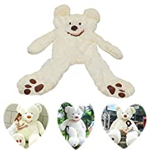 """78""""(6.5 Feet) Giant Teddy Bear Cover Creamy-White ( Semi-Finished, No Filler Cotton, Only Outer Shell with Zipper ) 200cm"""