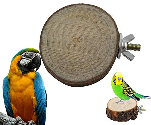 Tub Feeder Round (Parrot Bird - Round Wooden Squirrel Parrot Bird Perch Stand Platform Pet Hanging Toy - Christmas Pigeon Toys Bathtub Ornaments Playground Stuffed Nest Ring House)