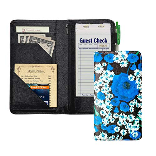 Server Book with Zipper Pocket, 5x9 Waitress Book with Money Pocket, Magnetic Closure Pocket for High Volume, Restaurant Waitstaff Organizer Fit Waitress Apron (Blue Flower)
