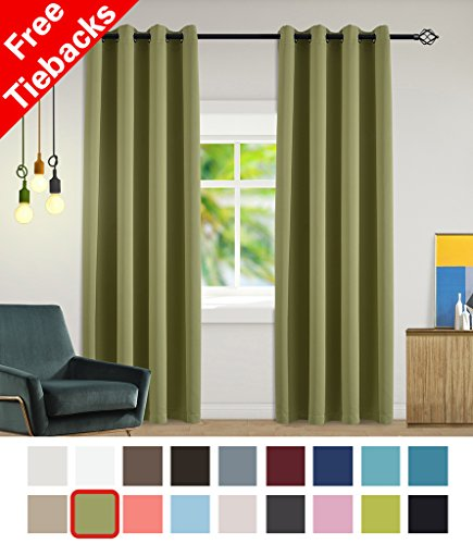 Yakamok Olive Blackout Curtains Room Darkening/Light Blocking/Thermal Insulated Draperies With Solid Grommet for Bedroom/Living Room/Dining Room Window Treatments 2 Panels, 52 x 84 Inch (Olive Kids Curtains)