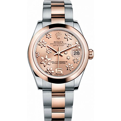 Rolex Datejust Lady 31 Pink Raised Floral Motif Dial Stainless Steel and 18K Everose Gold Rolex Oyster Automatic Watch 178241PFAO (Rolex Datejust Lady 31 Rose Gold Price)