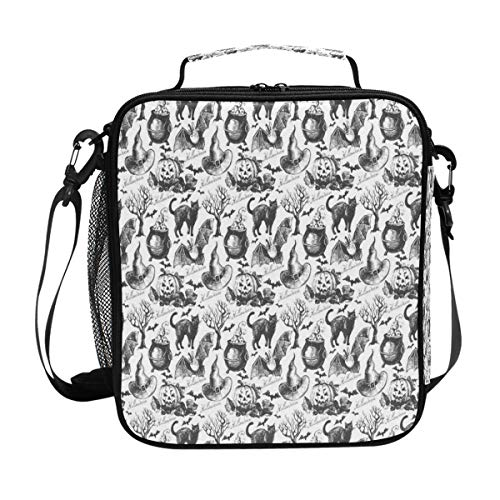 Halloween Witch Hat Cauldron Fall Jack Lantern Black Lunch Bag Womens Insulated Lunch Tote Containers Zipper Square Lunch Box for Kids Men -