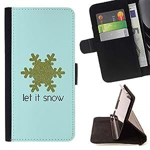 For Samsung Galaxy S4 IV I9500 Case , Copo de nieve del oro azul de invierno Texto- la tarjeta de Crédito Slots PU Funda de cuero Monedero caso cubierta de piel
