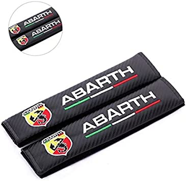 BENZEE 2pcs ABARTH Carbon Fiber Car Seat Belt Shoulders Pad Truck Cover For Fiat Bravo Viaggio 124 125 500 695 OT2000