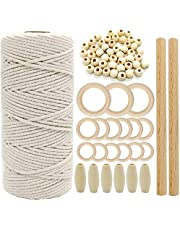 SNOWINSPRING Macrame Cord Natural Cotton Rope 3mm with Wood Ring Wood Stick for DIY Teether Macrame Kit Wall Hanging Plant Hanger