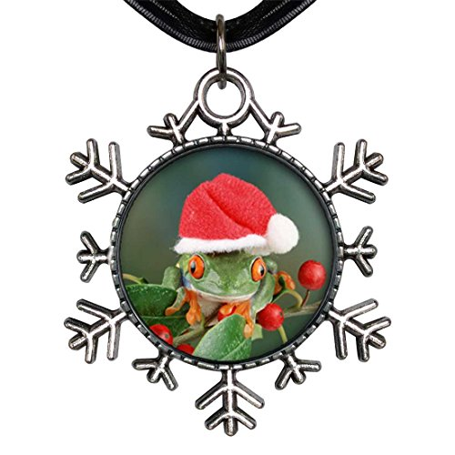GiftJewelryShop Ancient Style Silver Plate Holly Hopping Santa Frog Snowflake Charm Pendant Necklace
