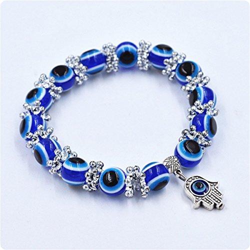 RoseSummer 1PC Hamsa Fatima Hand Evil Eye Bracelet Handmade Beads Elastic Band Unisex NEW