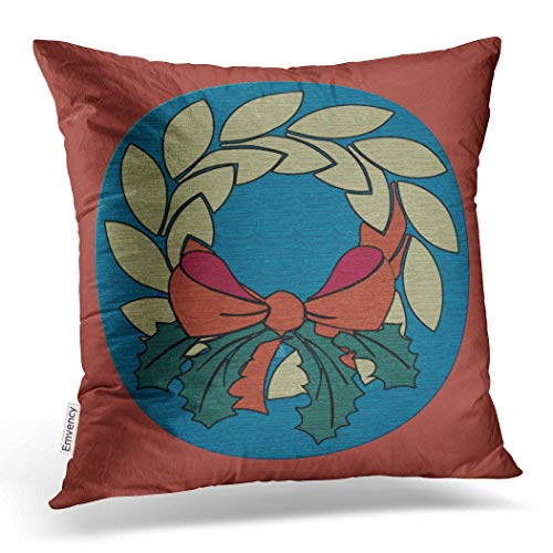 (Emvency Throw Pillow Case Dec Christmassy Christmas Wreath with Faux Raw Silk Texture Pillow Case Cushion Cover Case Pillowcases Square 18x18 inch)