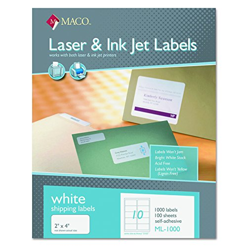 - MACO ML1000 White Laser/Inkjet Shipping & Address Labels, 2 x 4 (Box of 1000)