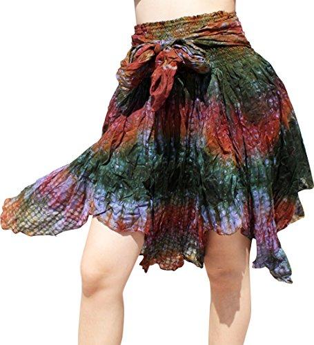 Blue Circles Embossed (RaanPahMuang Full Gypsy Dancing Short Skirt Tiedyed Circle Embossed Cotton, Large, Dark Green Dark Brown)