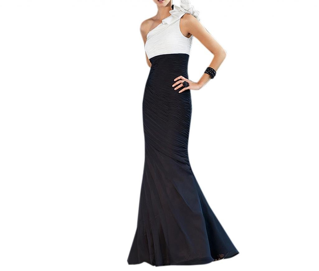 Dearta Women's Sheath One-Shoulder Floor-Length Dresses US 4 Black and White