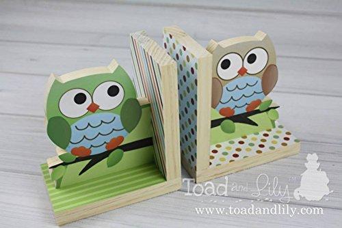 Boy Owls Kids Bedroom Baby Nursery Wood Bookends BE0005