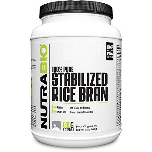 NutraBio 100% Pure Stabilized Rice Bran – Rice Bran Supplement - 600 Grams Powder