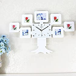 WEEDAY Personality Clock Mute Clock Large Photo Frame Wall Clock Fashion Creative Pocket Watch decoration (Color : White)