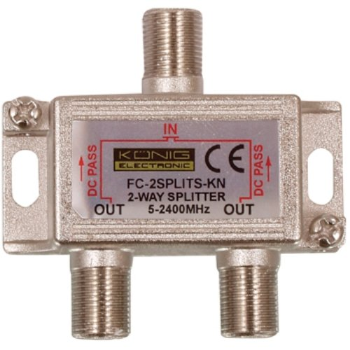Konig Satellite Splitter Satellite F-Splitter 6.5 dB / 5-2400 MHz - 2 Outputs [FC-2SPLT-ST-KN]
