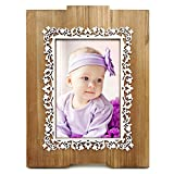 Wooden Picture Frame 4x6, Fantastic Lace Pattern, Laser Cut Dimensional Layered Wood Profile, Tabletop Vertically Display with Real Glass, Natural Wood Color