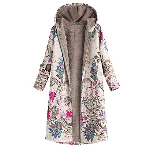 Silk Print Coat (XOWRTE Women's Floral Print Coat Vintage Oversize Jacket Hooded Pockets Winter Warm Overcoat Outwear)